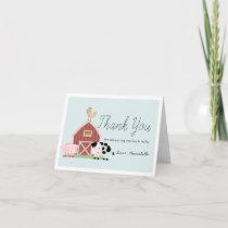 Farm Animals Barnyard Blue Boy Baby Shower Thank You Card