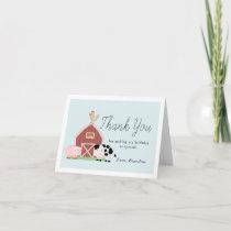 Farm Animals Barnyard Blue Boy Birthday Thank You Card