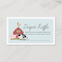 Farm Animals Barnyard Blue Diaper Raffle Ticket Enclosure Card