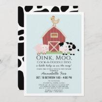 Farm Animals Barnyard Blue Drive-by Baby Shower Invitation