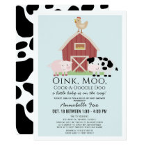Farm Animals Barnyard Blue Drive-by Baby Shower Invitation