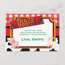 Farm Animals, Barnyard, Cute Thank You Cards