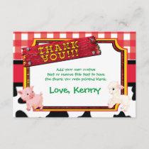 Farm Animals, Barnyard, Cute Thank You Cards