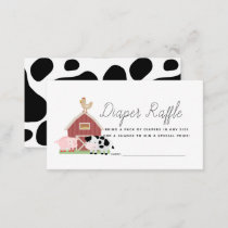Farm Animals Barnyard Diaper Raffle Ticket Enclosure Card