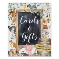 Farm Animals Barnyard Greenery Cards and Gifts  Poster