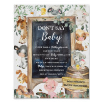 Farm Animals Barnyard Greenery Don't Say Baby Game Poster