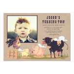 Farm Animals Barnyard Kids Birthday Photo Invite