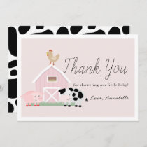 Farm Animals Barnyard Pink Baby Shower Thank You Invitation