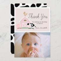 Farm Animals Barnyard Pink Birthday Thank You Card