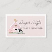 Farm Animals Barnyard Pink Diaper Raffle Ticket Enclosure Card