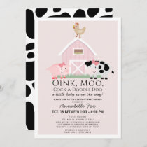 Farm Animals Barnyard Pink Drive-by Baby Shower Invitation
