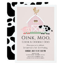 Farm Animals Barnyard Pink Girl 1st Birthday Invitation