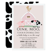 Farm Animals Barnyard Pink Girl Baby Shower Invitation