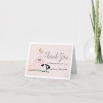 Farm Animals Barnyard Pink Girl Baby Shower Thank You Card