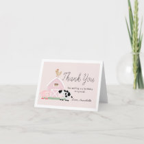 Farm Animals Barnyard Pink Girl Birthday Thank You Card