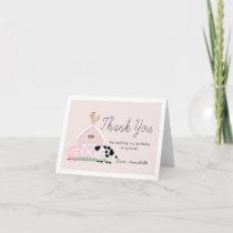 Farm Animals Barnyard Pink Girl Birthday Thank You Card