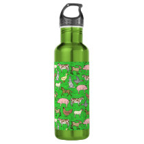 Farm Animals Barnyard Rustic Country Ranch Pattern Stainless Steel Water Bottle