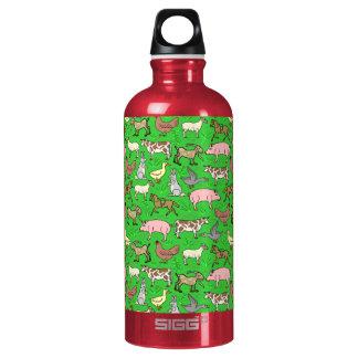 Farm Animals Barnyard Rustic Country Ranch Pattern Water Bottle