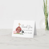 Farm Animals Barnyard White Baby Shower Thank You Card