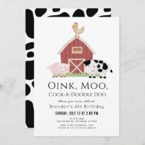 Farm Animals Barnyard White Birthday Invitation