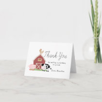 Farm Animals Barnyard White Birthday Thank You Card
