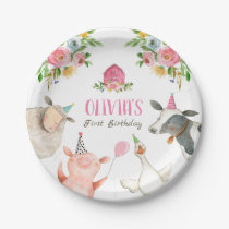 Farm Animals Barnyard Zoo Party Girl Pink Birthday Paper Plate