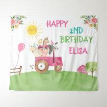 Farm Animals Birthday Barnyard Pink Girl Banner Tapestry