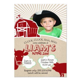 Farm Animals Birthday Invitation, Petting Zoo