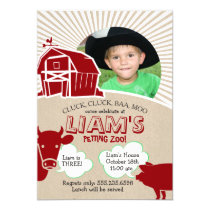 Farm Animals Birthday Invitation, Petting Zoo Invitation