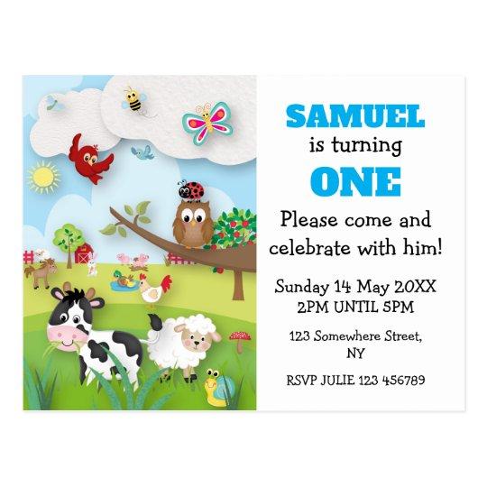 Farm Animals Birthday Invitation Postcard
