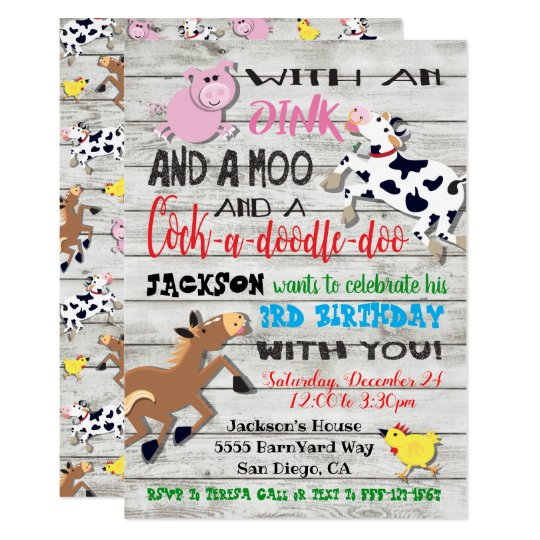 Farm Animals Birthday Party Invitation Zazzlecom