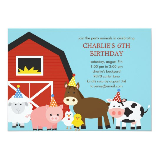 farm animals birthday party invitation | zazzle, Birthday invitations