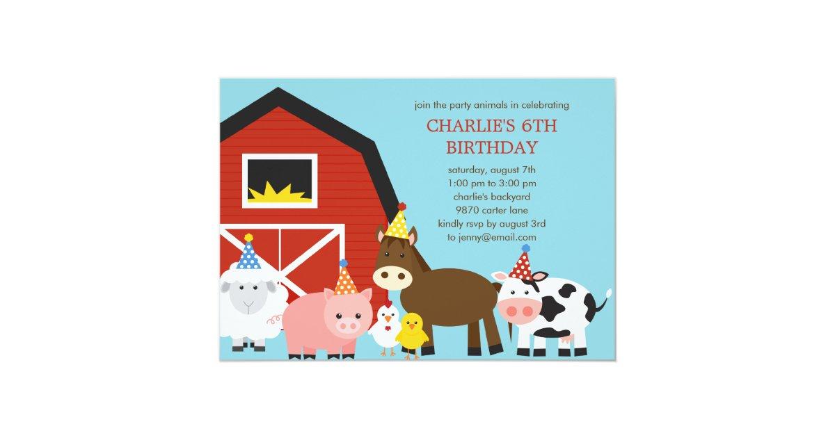 Farm Animals Birthday Party Invitation   Zazzle.com