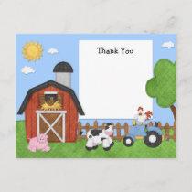 Farm Animals Birthday Party Thank You Card