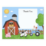 Farm Animals Birthday Party Thank You Card Personalized Invites