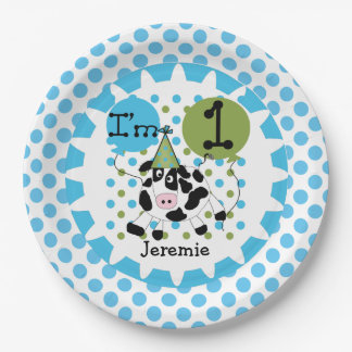 Farm Animals Blue Cow 1st Birthday Paper Plates