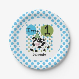 Farm Animals Blue Cow 1st Birthday Paper Plates