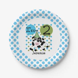 Farm Animals Blue Cow 2nd Birthday Paper Plates