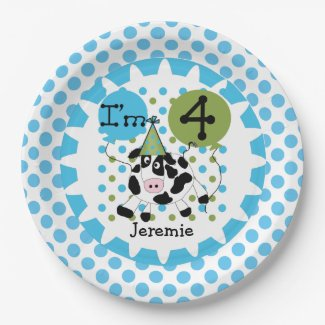 Farm Animals Blue Cow 4th Birthday Paper Plates
