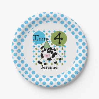 Farm Animals Blue Cow 4th Birthday Paper Plates 7 Inch Paper Plate