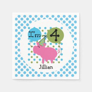 Farm Animals Blue Pig 4th Birthday Paper Napkins