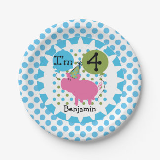 Farm Animals Blue Pig 4th Birthday Paper Plates 7 Inch Paper Plate