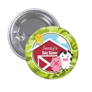 Farm Animals; bright green camo, camouflage Pinback Button