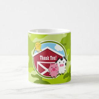 Farm Animals; bright green camo, camouflage Classic White Coffee Mug
