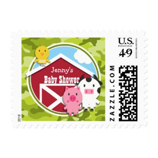 Farm Animals; bright green camo, camouflage Stamp