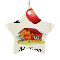 Farm animals ceramic ornament