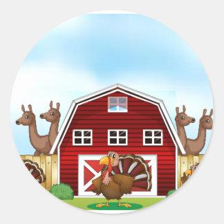 Farm animals classic round sticker