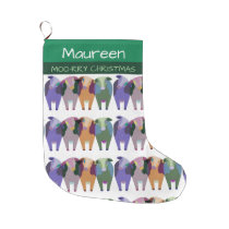 FARM ANIMALS, COW CHRISTMAS STOCKING.  CUTE COWS LARGE CHRISTMAS STOCKING