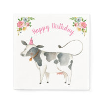 Farm Animals Cow Girl Birthday Barnyard Pink Napkins