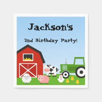 Farm Animals, Cow, Tractor, Sheep, Pigs, Birthday Paper Napkin